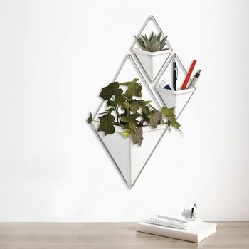 Pair Of White Geometric Wall Planters