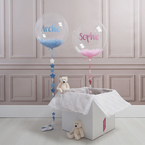 Personalised New Baby Feather Filled Balloon - children's parties