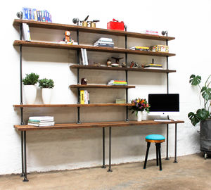 Susannah Chestnut Stained Scaffolding Desk And Shelves - bookcases