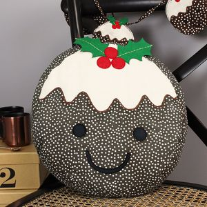 Smiley Christmas Pudding Cushion - christmas home