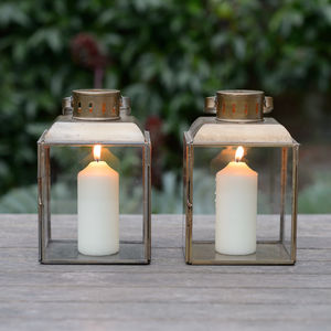 Coachman Style Brass And Glass Lantern - lights & lanterns