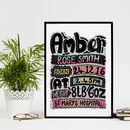 Personalised Typographic Baby Girl Print