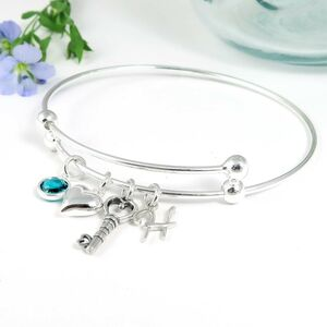 Personalised Silver Key And Heart Bangle