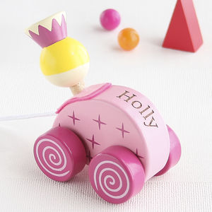 Personalised Princess Wooden Pull Along Toy - gifts: under £25