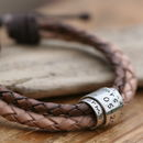 Nude Personalised Leather Scroll Tie Bracelet