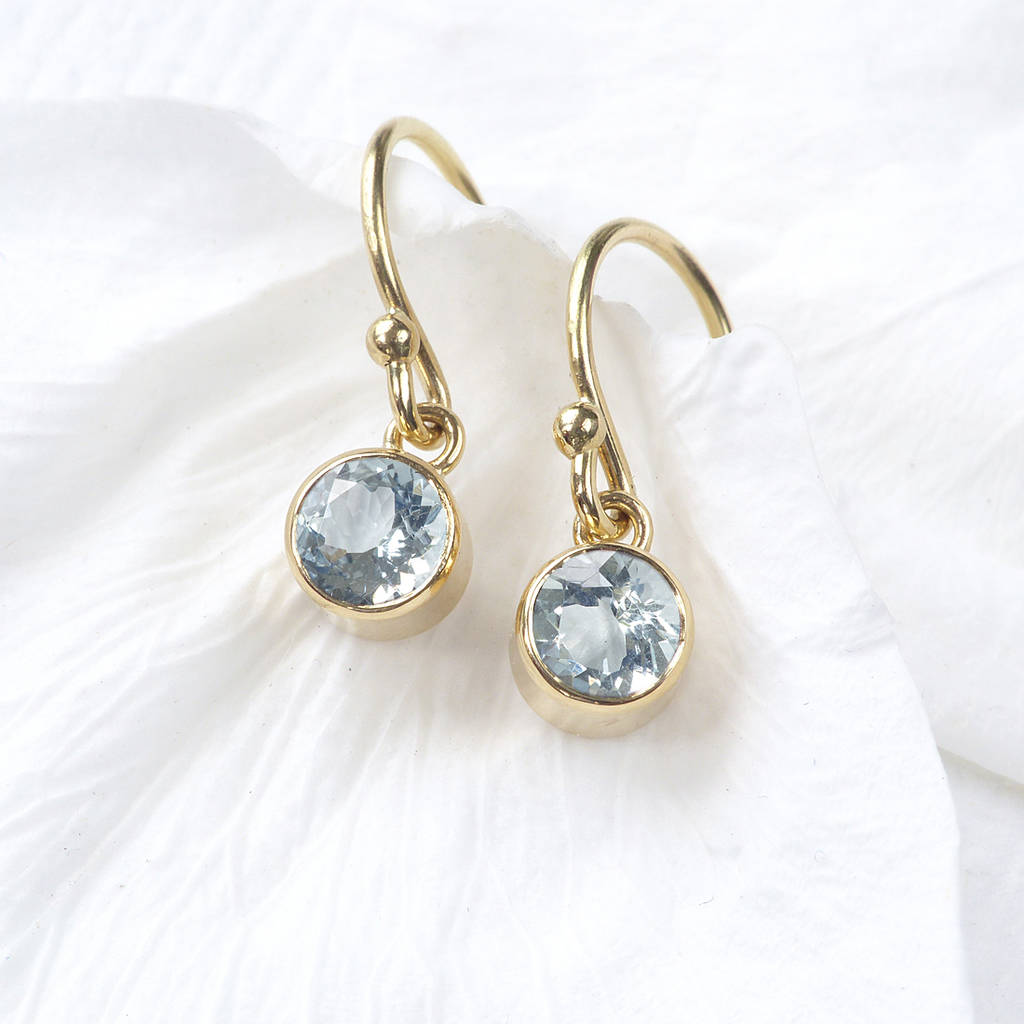 Birthstone Earrings Ideas: Aquamarine Earrings In 18ct Gold, March Birthstone By