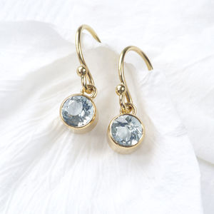 Aquamarine Earrings In 18ct Gold, March Birthstone - earrings