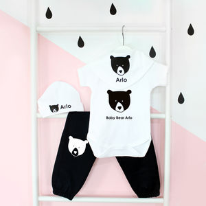 Personalised New Baby Gift Set, Baby Bear