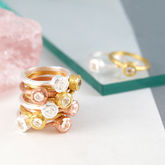 Gold And Silver Topaz Gemstone Stacking Rings - women's jewellery
