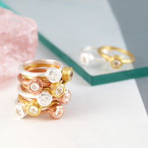 Gold And Silver Topaz Gemstone Stacking Rings