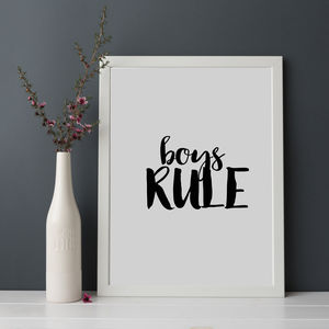 'Boys Rule' Print - pictures & prints for children