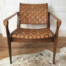 Woven Tan Leather Vegetal Armchair