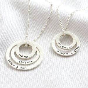 Personalised Sterling Silver Hammered Hoop Necklace