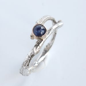 Handmade Silver, Rose Gold Woodland Sapphire Twig Ring - engagement rings
