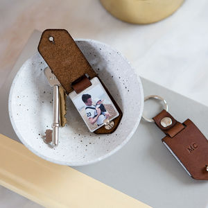 Personalised Metal Photo Keyring With Leather Case - winter sale