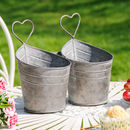 Double Metal Heart Planter Buckets