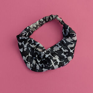 Monochrome Torto Pattern Silk Satin Turban Headband