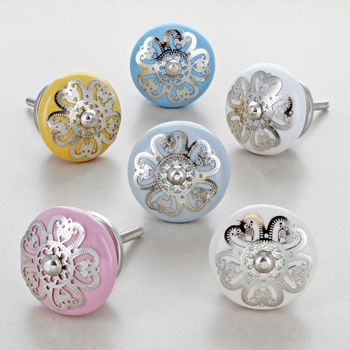 Silver Applique Flower Ceramic Door Knobs Handles