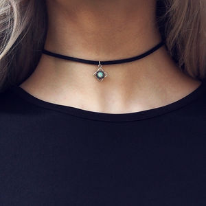 Kyla Opal Sterling Silver Pendant Leather Choker - chokers