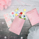 Pink And White Stripe Sweet Bags And Stickers