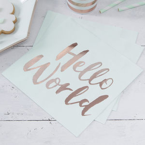 Rose Gold Foiled Baby Shower Paper Napkin - decoration