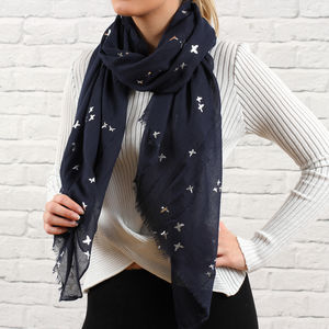 Personalised French Navy And Silver Butterfly Scarf