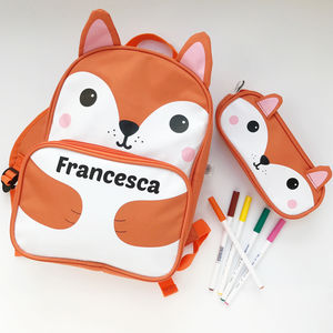 Personalised Fox Backpack - storage