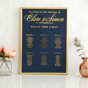 Navy And Gold Wedding Calligraphy Table Plan - table plans