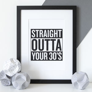 Personalised 'Straight Outta Compton' Birthday Print - typography
