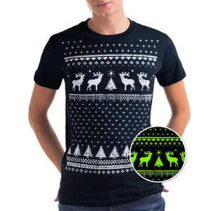 Glow In The Dark Christmas Jumper Style Reindeer Tshirt - christmas sale