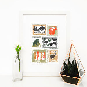 Zoo Animal Stamps, Illustrated Giclée Wall Art Print - animals & wildlife