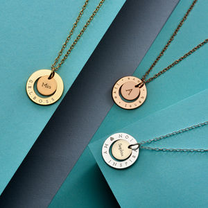 Circle Initial Halo Necklace