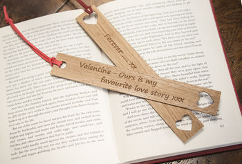 Personalised Valentines Gift Oak Bookmark