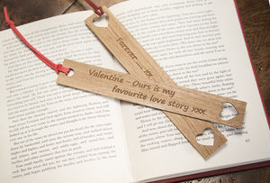 Valentines Gift Oak Bookmark