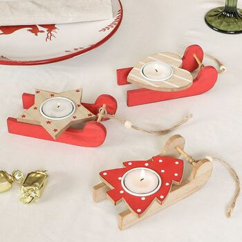 Three Red Christmas Sleigh Tealight Holders