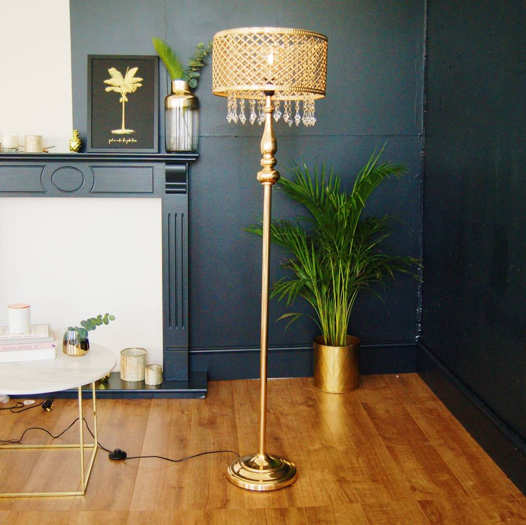 Gold Moroccan Floor Lamp Chandelier Crystal By The Luxe Co