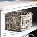 Grey Rattan Deep Rectangular Basket