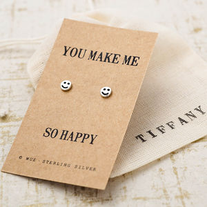 Silver Smiley Happy Earrings - earrings
