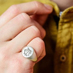 Personalised Sterling Silver Monogram Signet Ring