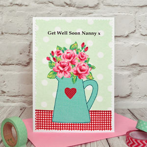 'Roses' Personalised Get Well Soon Card