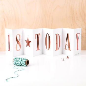 18th Birthday Card '18 Today' Foil Concertina Card