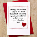 Handmade Valentines Card for Wife or Girlfriend