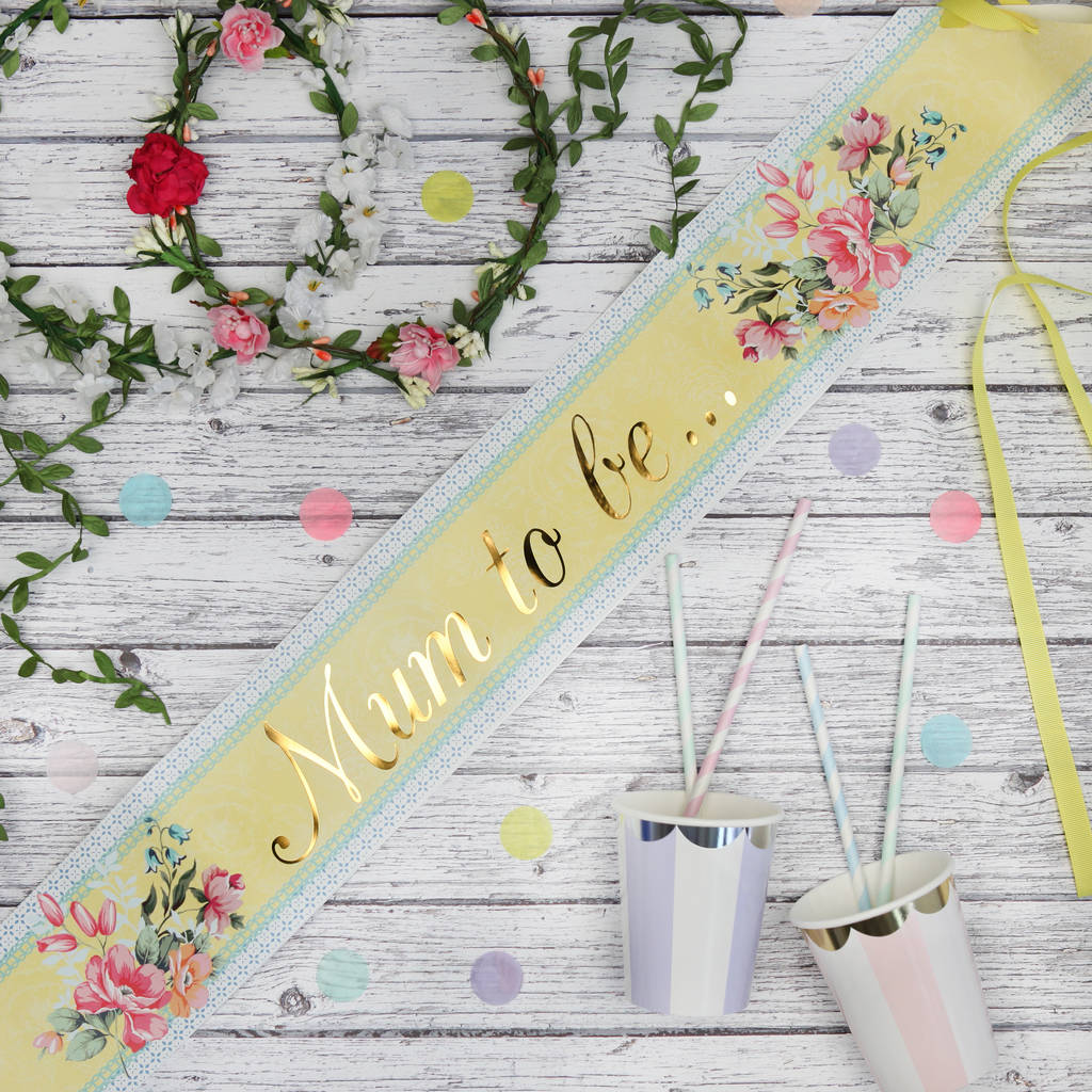 Baby Shower Floral Mum To Be Sash By Postbox Party