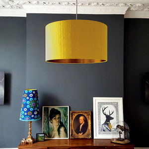 Brushed Copper Or Gold Lined Lampshade In Mustard Silk - lighting