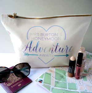 Personalised Brides Honeymoon Accessory Bag - make-up & wash bags