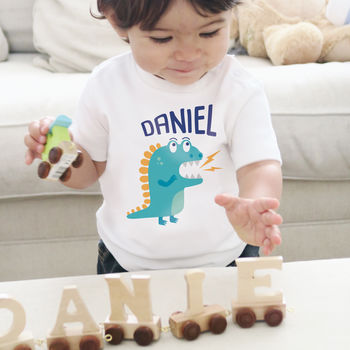 Super Cute Personalised Roaring Dinosaur T Shirt