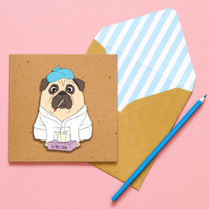 Get Well Soon Pug Personalised Card - get well soon cards