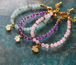 Children's Bunny Bracelet With Semi Precious Stones - children's accessories