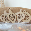 Christmas Tree Decoration, Set Of Four Folk Baubles
