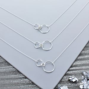 Infinity Family Ring Necklace Silver - gifts for mothers